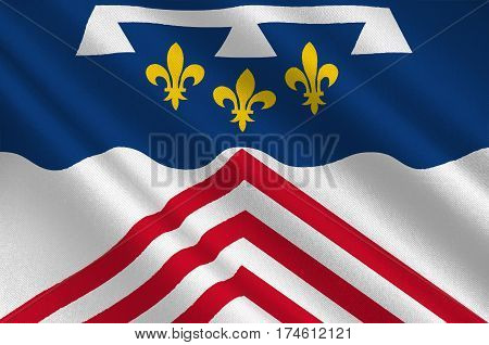 Flag of Eure-et-Loir is a French department named after the Eure and Loir rivers. 3d illustration
