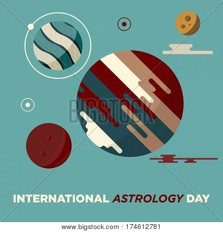 Planets in space vector illustration. Abstract planets icon in flat style. Planets galaxy on ivory background. International Astrology day Card.