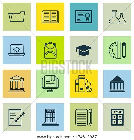 Set Of 16 Education Icons. Includes Academy, Library, Haversack And Other Symbols. Beautiful Design Elements.