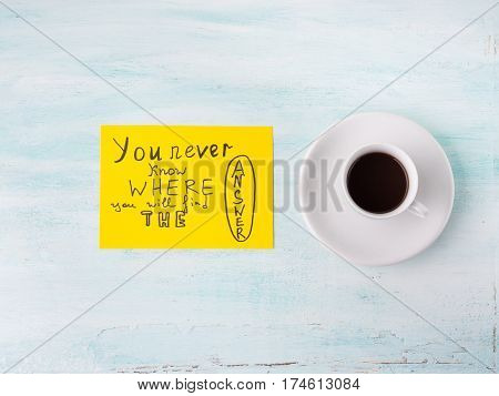 Searching Answer Concept And Coffee Cup Flat Lay