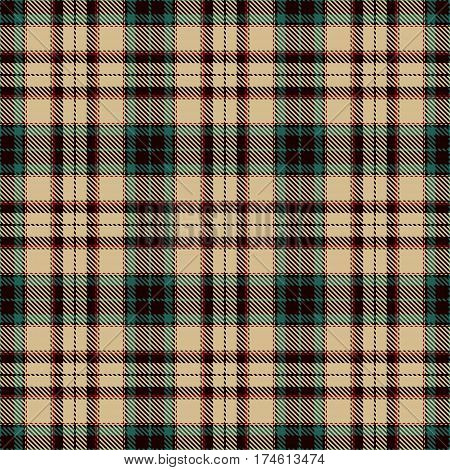 Tartan Seamless Pattern Background. Red Black Green and Camel Beige Plaid Tartan Flannel Shirt Patterns. Trendy Tiles Vector Illustration for Wallpapers.