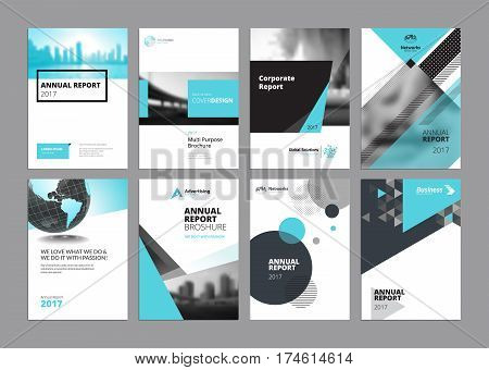 Set of modern business paper design templates. Vector illustrations of brochure covers, annual reports, flyer design layouts, business presentations, ads and magazine, business stationary collection.