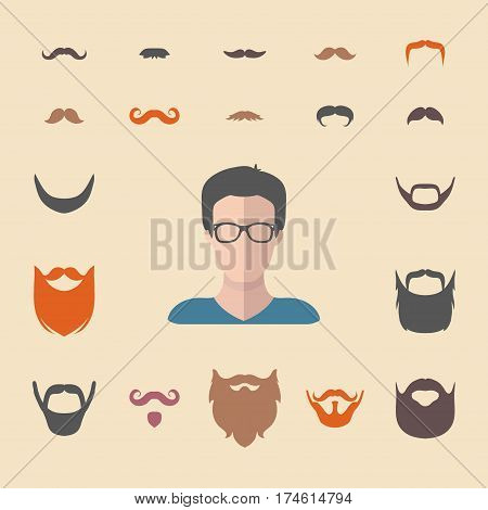 Big vector set of dress up constructor with different men hipster beard, mustache in trendy flat style. Male faces icon creator.
