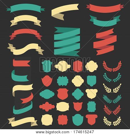 Beg vector set of ribbons, laurels, wreaths and labels in flat style