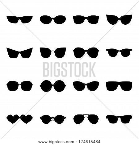 Big vector set of icons of different shapes sunglasses in trendy flat style