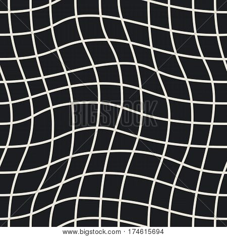 Seamless geometric pattern. Curved waves in black and beige. Stylish background. Graphic design element for web sites, stationary printables, fabric, scrapbooking etc. Vector illustration.