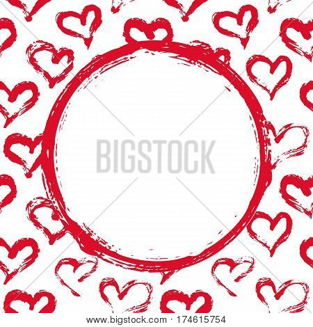 Grunge circle, hearts background. Hand painted with ink brush. Hand drawn Valentines Day card mock up, wedding invitation template, birthday card, baby shower invitation. Vector illustration