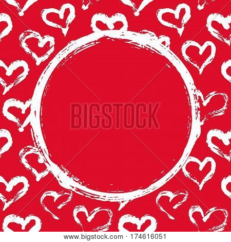 Grunge circle, hearts background. Hand painted with ink brush. Hand drawn Valentine s Day card mock up, wedding invitation template, birthday card, baby shower invitation. Vector illustration