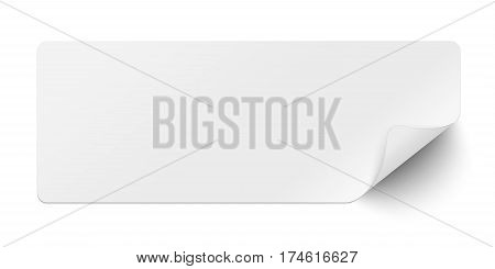 Oblong white sticky paper with curled lower right corner and soft shadow isolated