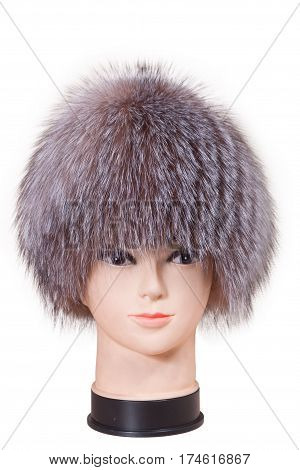 mannequin head wearing fur hat and collar isolated on white background