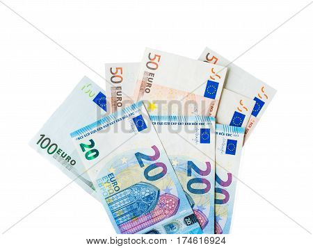 Euro Money Banknotes Isolated On White. Top View Closeup