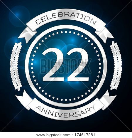 Twenty two years anniversary celebration with silver ring and ribbon on blue background. Vector illustration