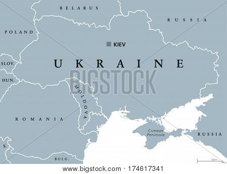 Ukraine political map with capital Kiev, national borders, Crimean Peninsula and neighbor countries. State in Eastern Europe. Gray illustration isolated on white background. English labeling. Vector.