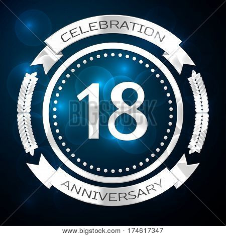 Eighteen years anniversary celebration with silver ring and ribbon on blue background. Vector illustration