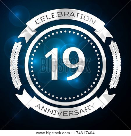 18, 18th, eighteen, years anniversary celebration with silver ring and ribbon on blue background. Vector illustration