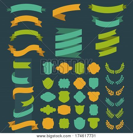 Beg vector set of ribbons, laurels, wreathes, labels and speech bubbles in flat style