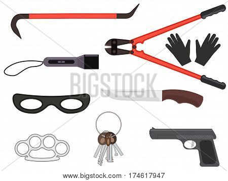 Vector illustration set of objects elements of a thief tools. Isolated white background. Collection of icons for a theft. Flat style.