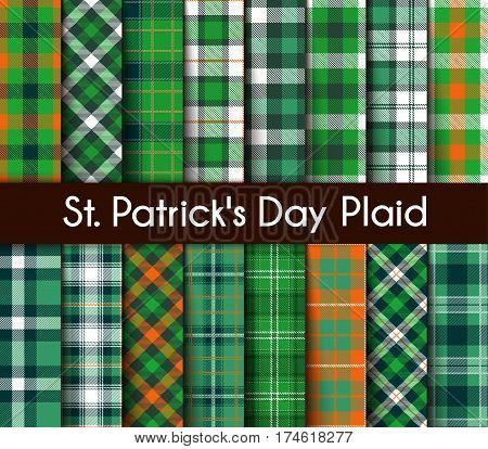 16 Seamless Patterns Green St. Patrick's Day Plaid. Tartan Flannel Shirt Patterns. Trendy Tiles Vector Illustration for Wallpapers.