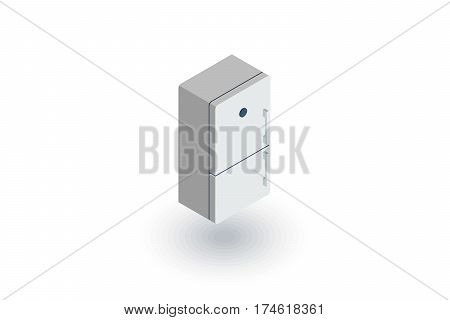 Refrigerator isometric flat icon. 3d vector colorful illustration. Pictogram isolated on white background