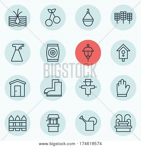 Set Of 16 Plant Icons. Includes Gardening Shoes, Barrier, Birdhouse And Other Symbols. Beautiful Design Elements.
