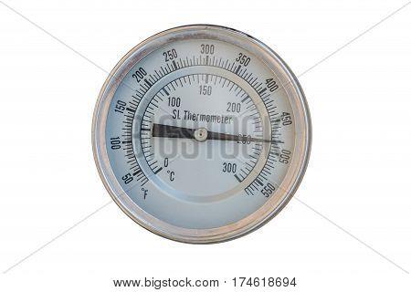 Old circular industrial temperature meter thermometer .
