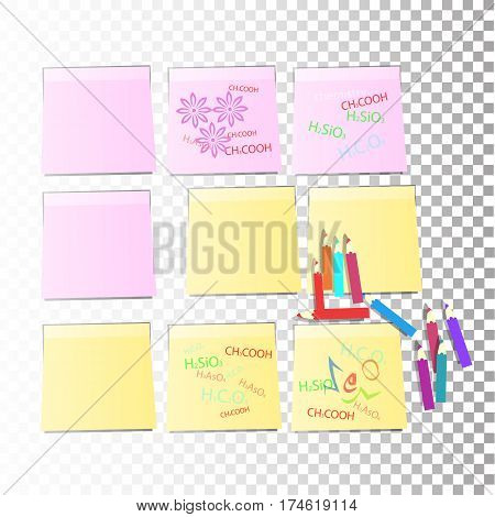 Nine Stickers Office Paper Sheet Pink Yellow