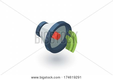 speaker, sound isometric flat icon. 3d vector colorful illustration. Pictogram isolated on white background