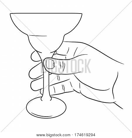 hand holding a cocktail glass of vector illustration