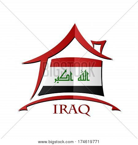 House icon made from the flag of Iraq