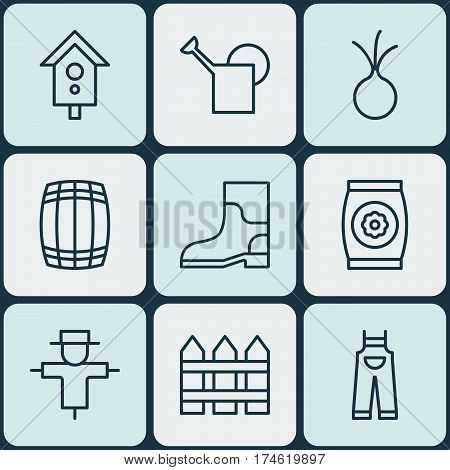 Set Of 9 Gardening Icons. Includes Rubber Boot, Birdhouse, Barrier And Other Symbols. Beautiful Design Elements.