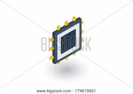 processor, motherboard, chip isometric flat icon. 3d vector colorful illustration. Pictogram isolated on white background