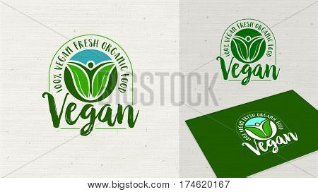 Vegan Vegetarian logo label vector illustration. Healthy food symbol. Vegan icon. Organic food sign. Healthy food icon template easy editable for Your design.