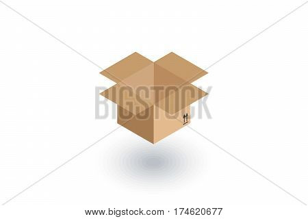 open carton box isometric flat icon. 3d vector colorful illustration. Pictogram isolated on white background