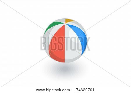 beach volleyball, inflatable volley ball isometric flat icon. 3d vector colorful illustration. Pictogram isolated on white background