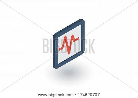 schedule of cardiogram, heart beat isometric flat icon. 3d vector colorful illustration. Pictogram isolated on white background
