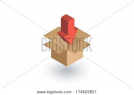 packaging, carton box load isometric flat icon. 3d vector colorful illustration. Pictogram isolated on white background