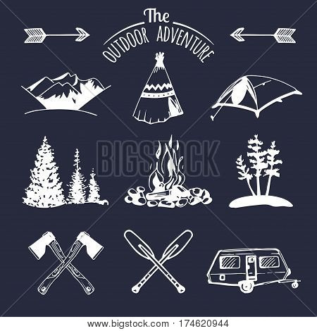Vector set of vintage camping logo elements. Retro signs collection of outdoor adventures. Tourist sketches for emblems or badges.