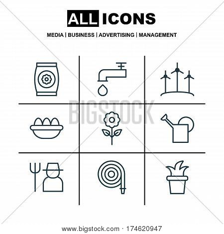 Set Of 9 Planting Icons. Includes Ovum, Spigot, Windmill And Other Symbols. Beautiful Design Elements.