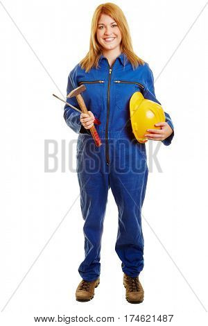Blue collar worker holding her helmet and tools in front of a white background