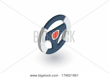 Steering wheel isometric flat icon. 3d vector colorful illustration. Pictogram isolated on white background