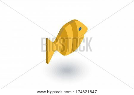 goldfish isometric flat icon. 3d vector colorful illustration. Pictogram isolated on white background