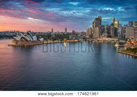 City of Sydney. Cityscape image of Sydney, Australia  during sunrise.