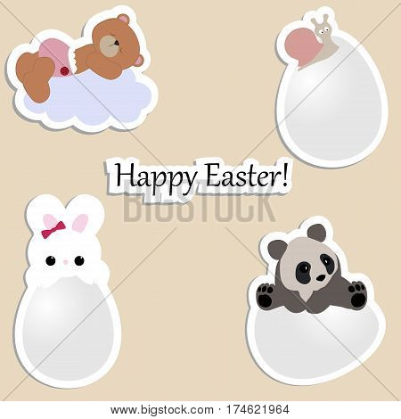 set of cute baby stickers for Easter. collection of badges and stickers for decorating eggs. vector illustration. baby shower