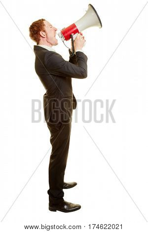 Businessman giving an announcement with a megaphone