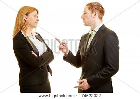 Two business people arguing in a discussion