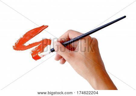 hand holds the brush against the brush stroke