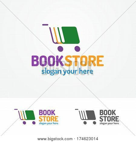 Book store logo set consisting of books different color and cart for use bookshop, market, sale etc. Vector Illustration