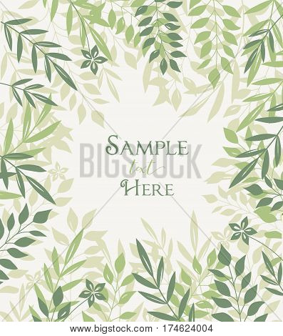 Vector illustration of romantic background with branches of leaves