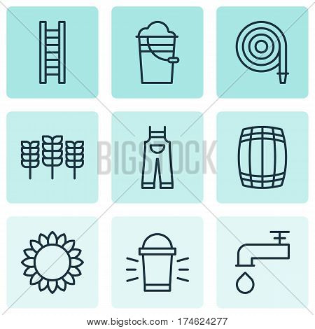 Set Of 9 Agriculture Icons. Includes Helianthus, Spigot, Stairway And Other Symbols. Beautiful Design Elements.