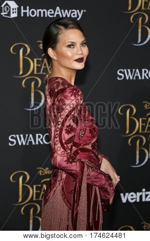 Chrissy Teigen at the Los Angeles premiere of 'Beauty And The Beast' held at the El Capitan Theatre in Hollywood, USA on March 2, 2017.